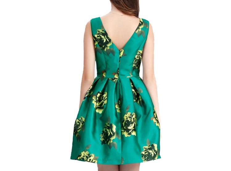 Vestido Corte Princesa Estampado Verde Nicopoly
