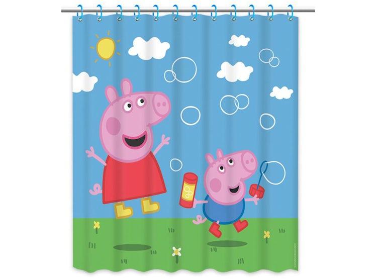 Cortina De Baño Infantil Celeste Peppa Pig Y George