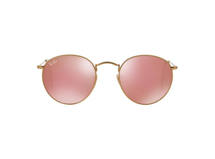 Ripley - Ray Ban Round Metal Matte Gold lente Brown Mirror Pink 13bfa163c1