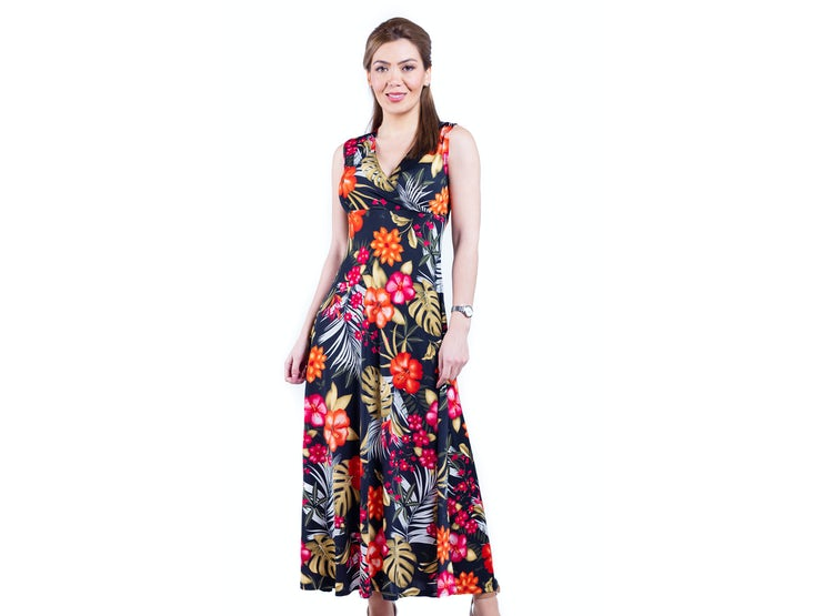 Maxi Vestido Negro Flores