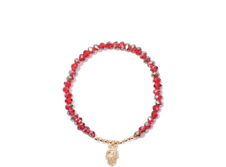 dc3753d578f9 Pulsera Hamsa Cristal Rojo
