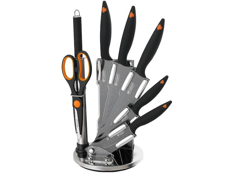 Ripley - Set cuchillos cocina 8 piezas c soporte giratorio gris ... e7de628ca961
