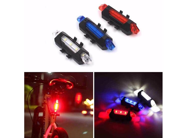bcd7c6a939e2a Kit Luz Delantera Blanca y Trasera Roja Led para Bicicleta USB Recargable