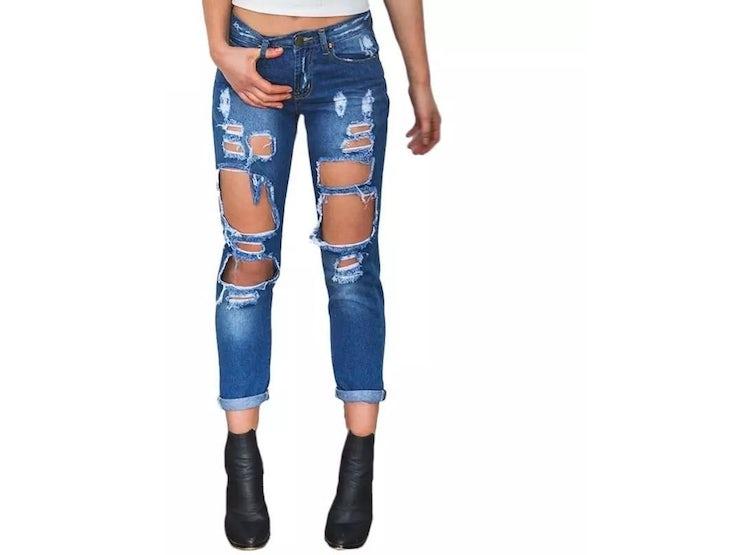 9f6c633e6200e Ripley - Pantalon Jeans Mujer Rasgado Color Azul