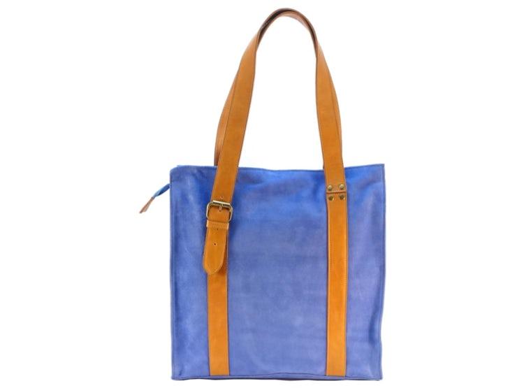 002738518 Cartera de Cuero Loué María Azul Claro