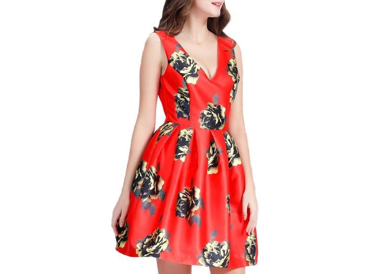 Vestido Corte Princesa Estampado Rojo Nicopoly