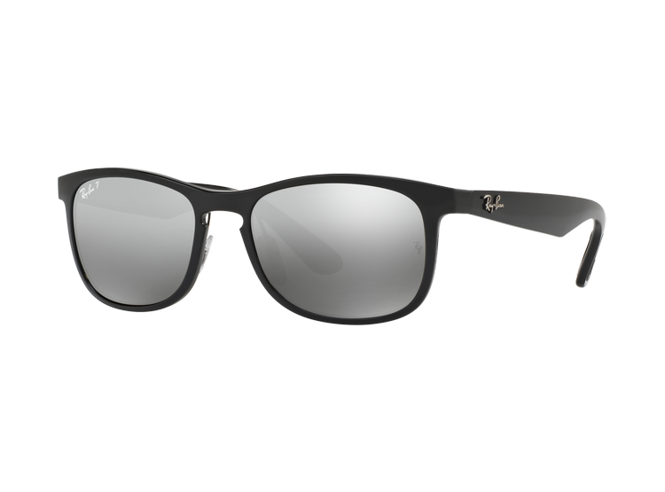 17cda374aa Ray Ban Wayfarer Chromance Shiny Black lente Silver Grey Mirror Polarized