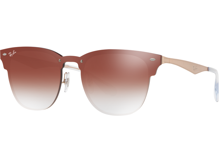 442f19529c Ray Ban Blaze Clubmaster Brusched Copper lente Clear Gradient Red Mirror