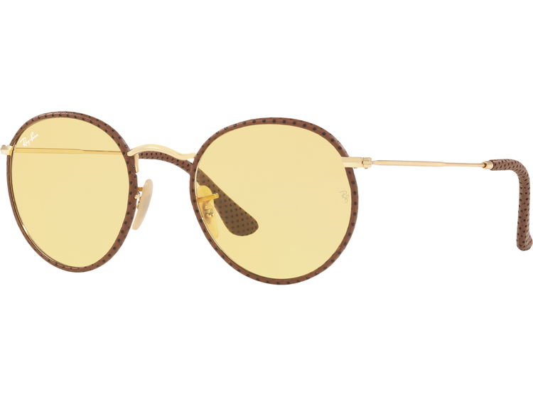 80918ea857 Ray Ban Round Craft Leather Light Brown lente Yellow Photocromatic  Fotocromáticos