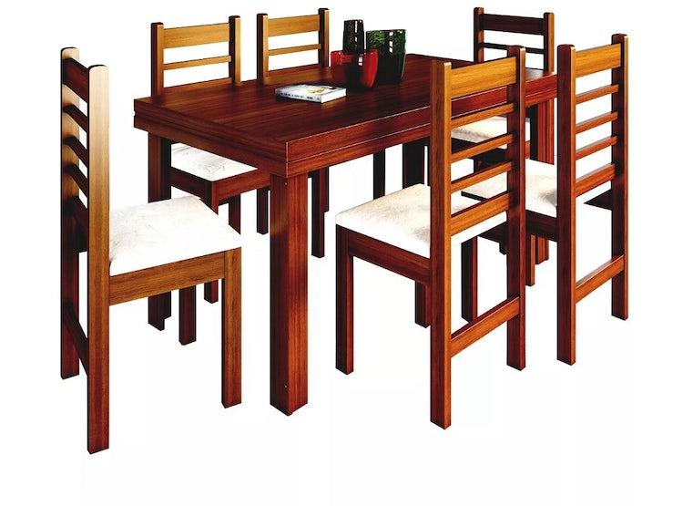 Ripley - Mesa Comedor Rectangular Madera + 6 Sillas Café 28589