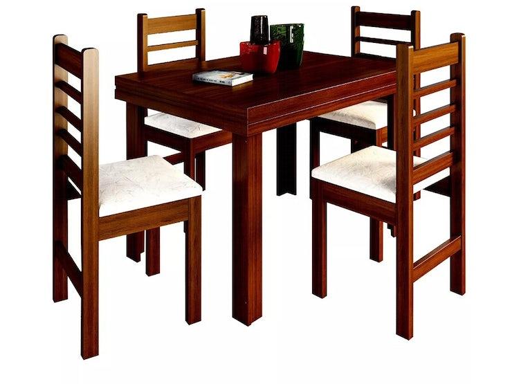 Mesa Comedor Rectangular Madera + 4 Sillas Café 28579